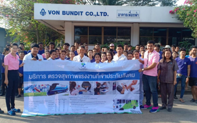 Von Bundit Co., Ltd., Phunphin Branch, conducted health check for 50 employees before commencing the employment.