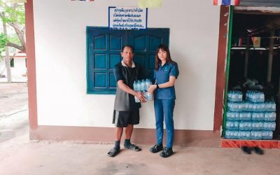Von Bundit Co., Ltd., Udon Thani branch, donated 20 packs of drinking water to Ban Toom Temple in the Budda casting work by Mr. Suriyan Khamtalee, Assistant Headman ,Toom, Jul 20, 2020